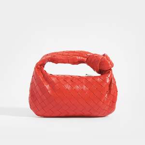 BOTTEGA VENETA Mini Jodie Intrecciato Leather Top Handle Bag in Red