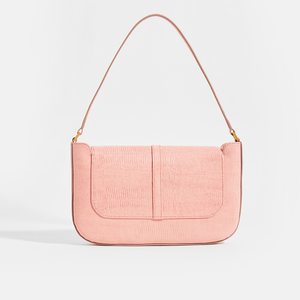 BY FAR Miranda Shoulder Bag in Pink Lizard-Effect Leather
