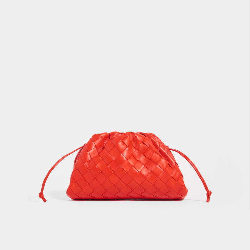 BOTTEGA VENETA Pouch 20 Intrecciato Crossbody in Red