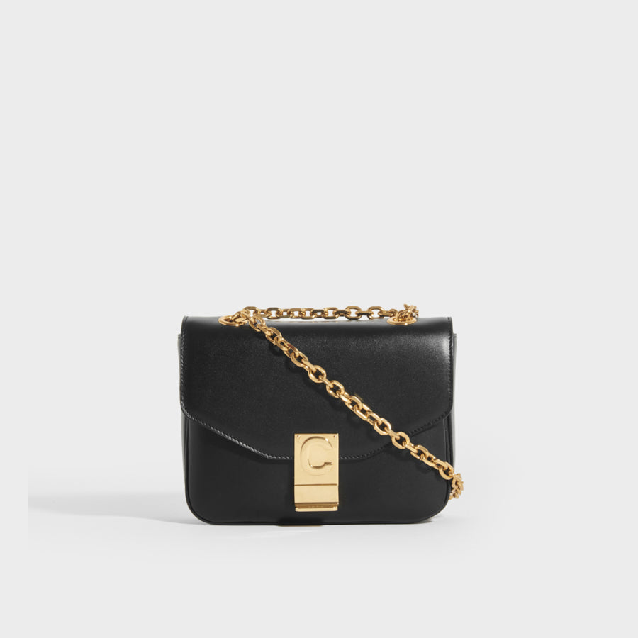 CELINE Small C Bag in Polished Black Calfskin