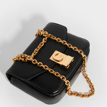 Load image into Gallery viewer, Top view of CELINE Small C Bag in Polished Black Calfskin
