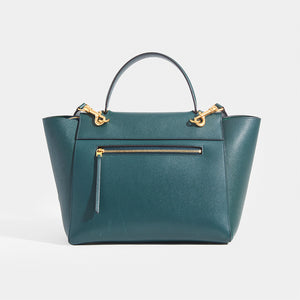 CELINE Mini Belt Bag in Green Grained Calfskin with rear zip
