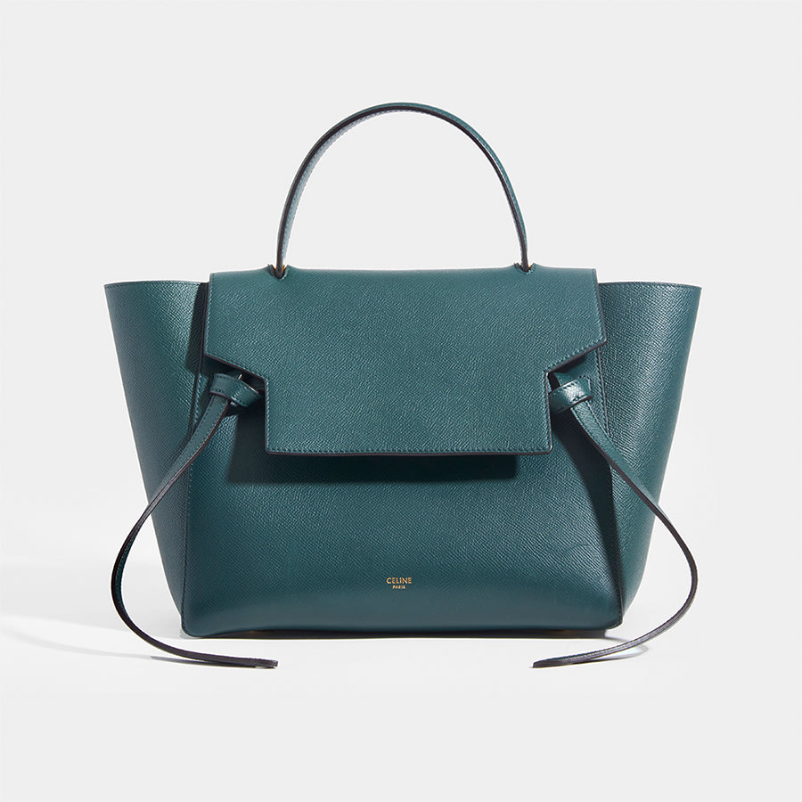CELINE Mini Belt Bag in Green Grained Calfskin