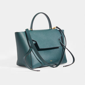 CELINE Mini Belt Bag in Green Grained Calfskin  with strap and top handle