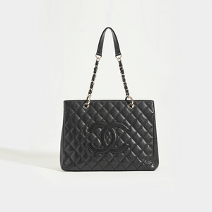 CHANEL Vintage Shopping Tote in Black Caviar Leather with Silver Hardware - Front View