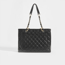 Load image into Gallery viewer, CHANEL Vintage Shopping Tote in  Black Caviar Leather with Silver Hardware