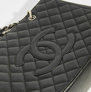 CHANEL Vintage Shopping Tote in  Black Caviar Leather with Silver Hardware