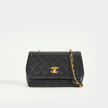 Load image into Gallery viewer, CHANEL Vintage Quilted Single Flap Chain Shoulder Bag in Black Lambskin