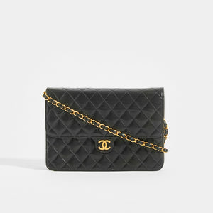 CHANEL Vintage Quilted Classic Single Flap Bag in Black Lambskin