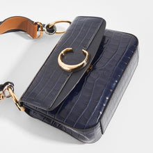 Load image into Gallery viewer, CHLOÉ C Double Carry Shoulder Bag in Navy Croc Effect Leather