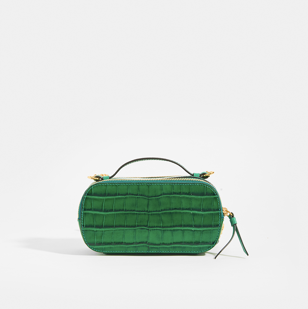 Rear of CHLOÉ C Mini Vanity Shoulder Bag in Green Croc-Effect Leather