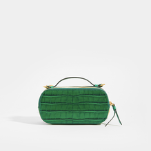 Load image into Gallery viewer, Rear of CHLOÉ C Mini Vanity Shoulder Bag in Green Croc-Effect Leather
