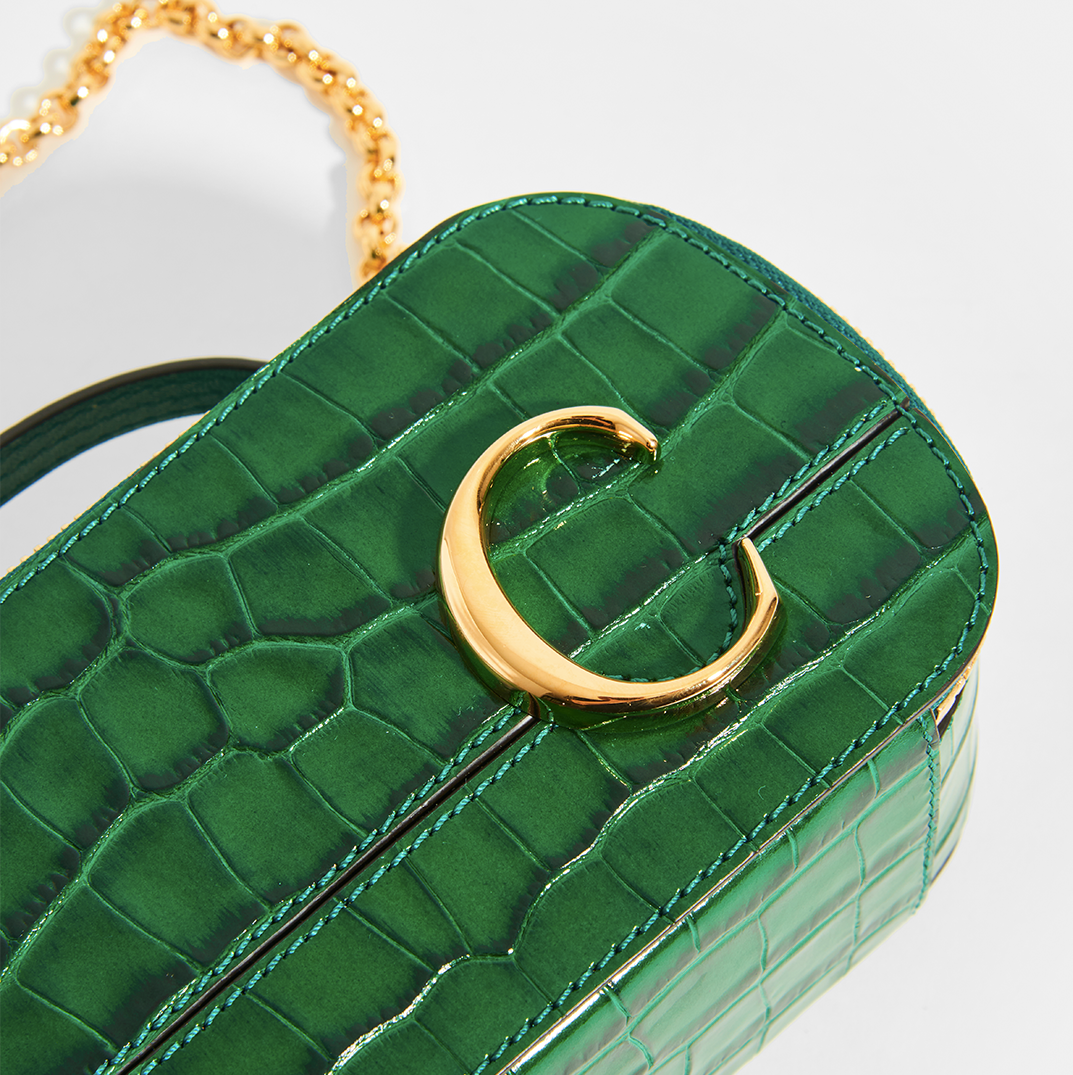Close up of CHLOÉ C Mini Vanity Shoulder Bag in Green Croc-Effect Leather
