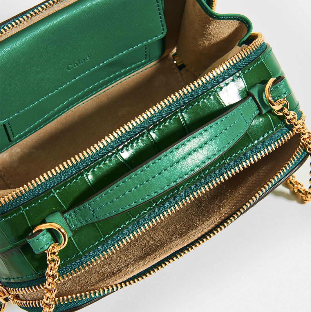 Inside of CHLOÉ C Mini Vanity Shoulder Bag in Green Croc-Effect Leather