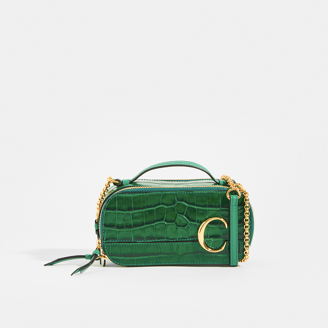CHLOÉ C Mini Vanity Shoulder Bag in Green Croc-Effect Leather