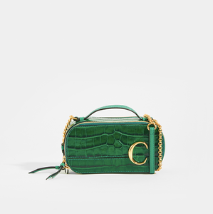 CHLOE C Mini Vanity Shoulder Bag in Green Croc-Effect Leather