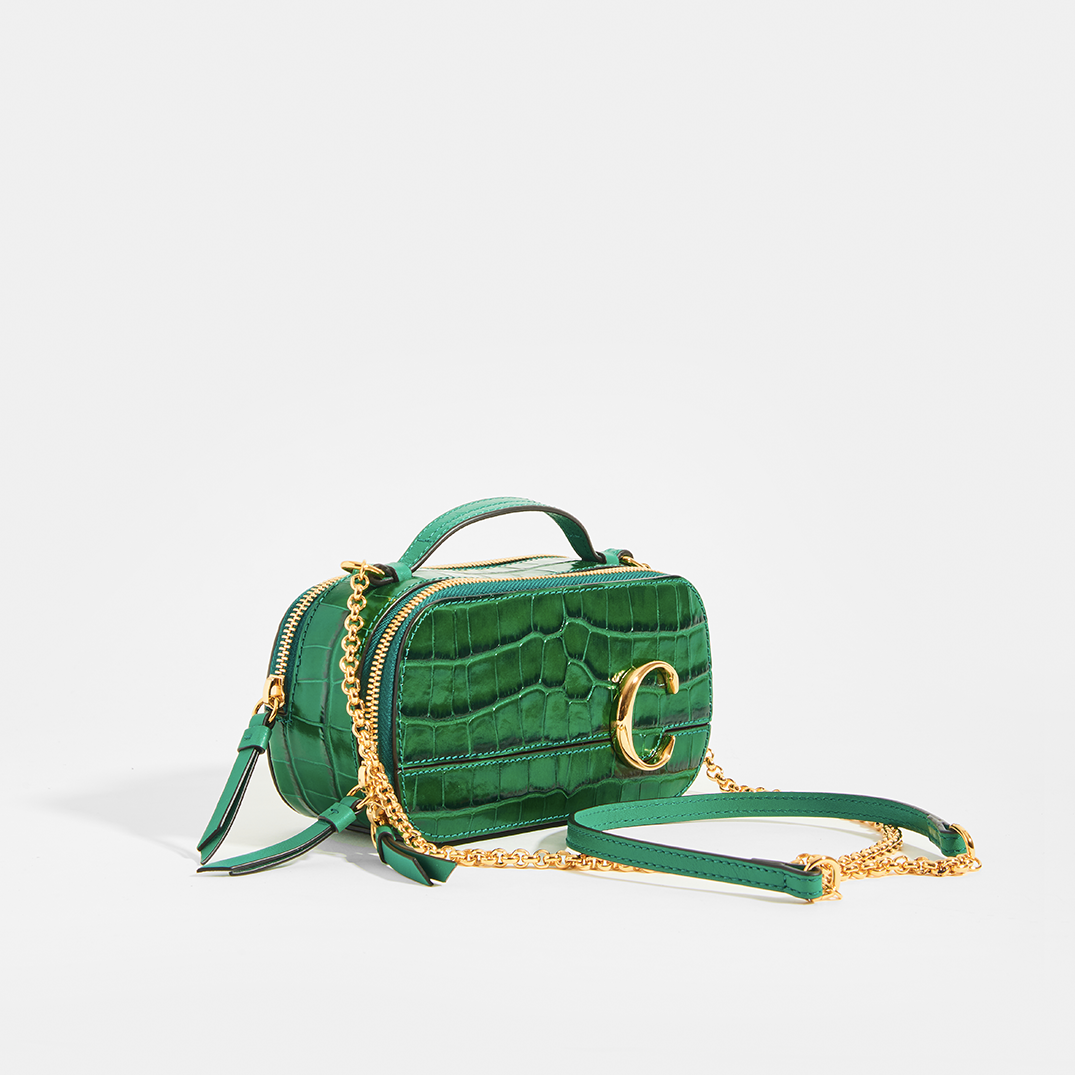 Side of CHLOÉ C Mini Vanity Shoulder Bag in Green Croc-Effect Leather
