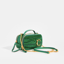 Load image into Gallery viewer, Side of CHLOÉ C Mini Vanity Shoulder Bag in Green Croc-Effect Leather