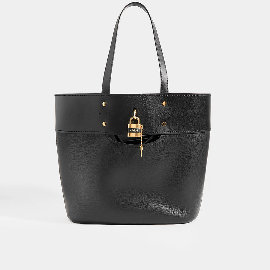 CHLOÉ Aby Large Smooth and Grained Leather Tote in Black