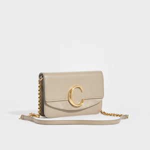"SIDE VIEW OF CHLOÉ ""C"" Clutch With Chain in Motty Grey"