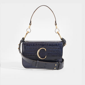 CHLOÉ C Double Carry Shoulder Bag in Navy Croc Effect Leather
