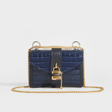 Load image into Gallery viewer, CHLOÉ Mini Aby Chain Crocodile-effect Shoulder Bag in Navy