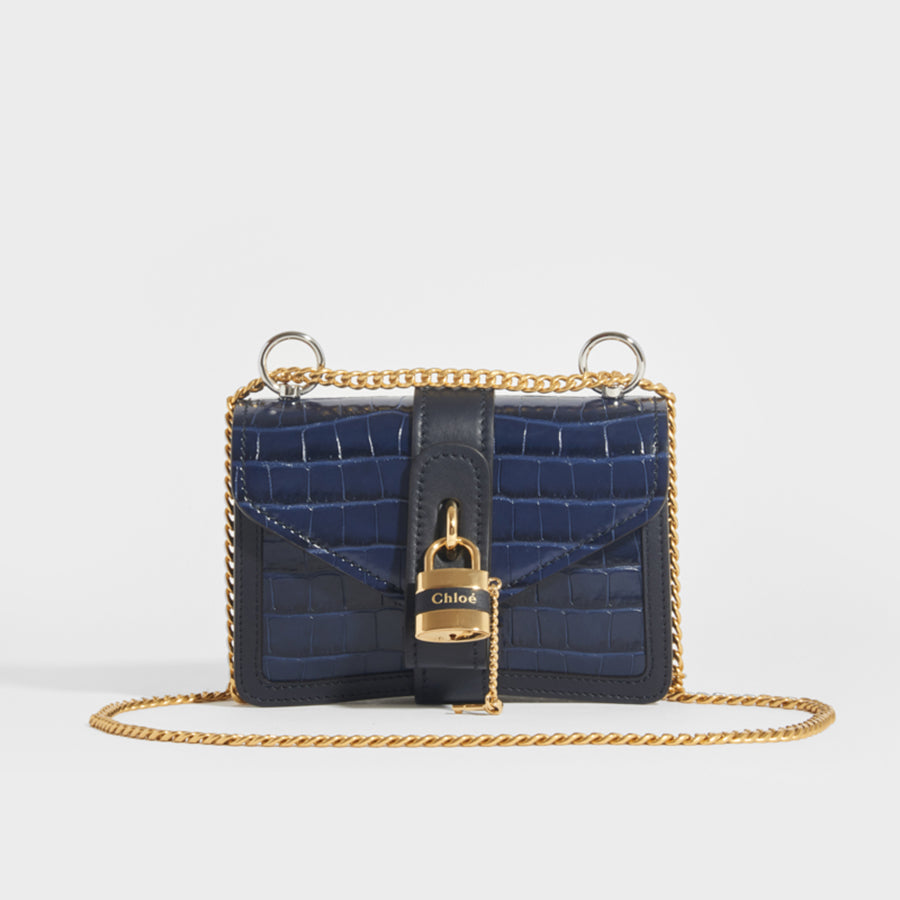 CHLOÉ Mini Aby Chain Crocodile-effect Shoulder Bag in Navy