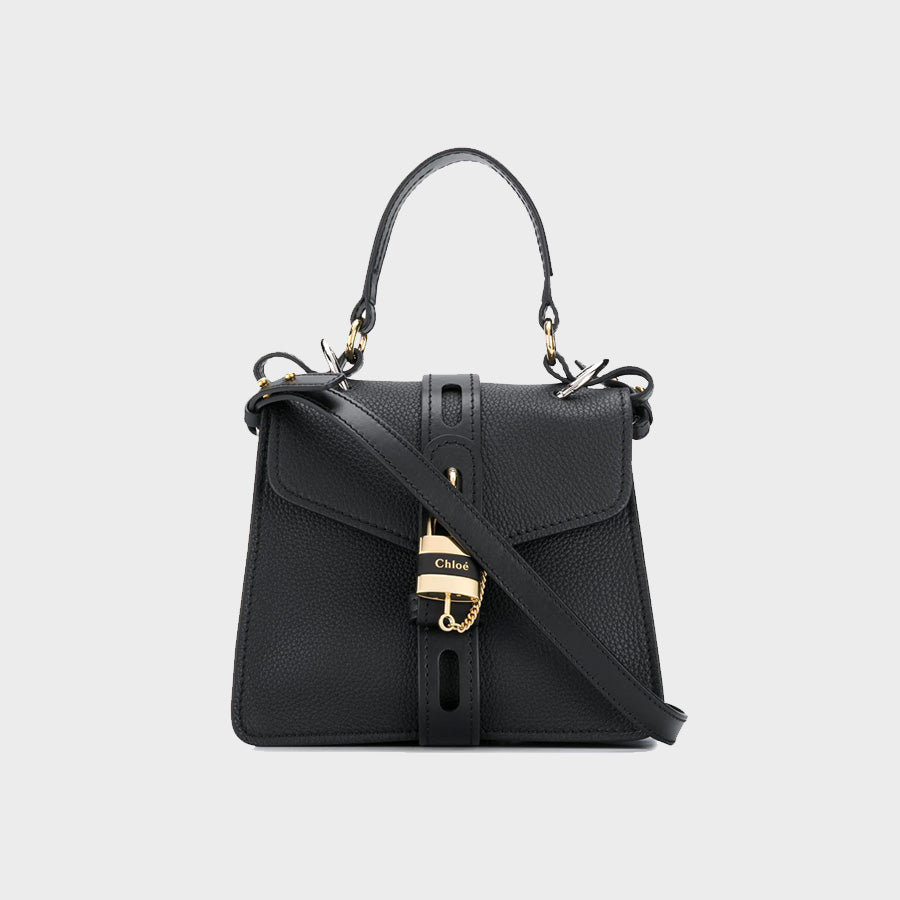 Front view of CHLOÉ Small Aby Day Shoulder Bag in Black Leather