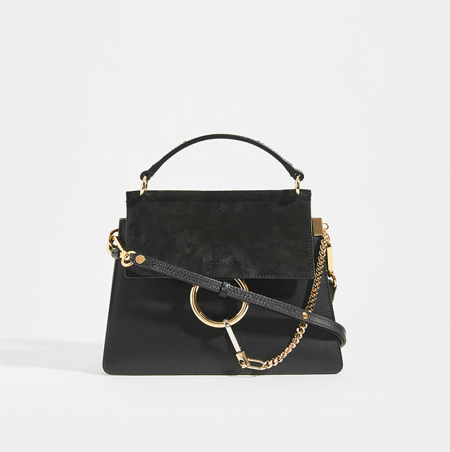 CHLOÉ Small Faye Tote in Black Leather with leather strap, suede trim and gold hardware