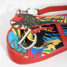 Load image into Gallery viewer, DIOR Vintage Rasta Mania Saddle Bag in Multicolour Canvas & Red Calfskin Leather