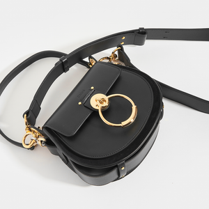 CHLOÉ Tess Small Crossbody Bag in Black Leather and Suede
