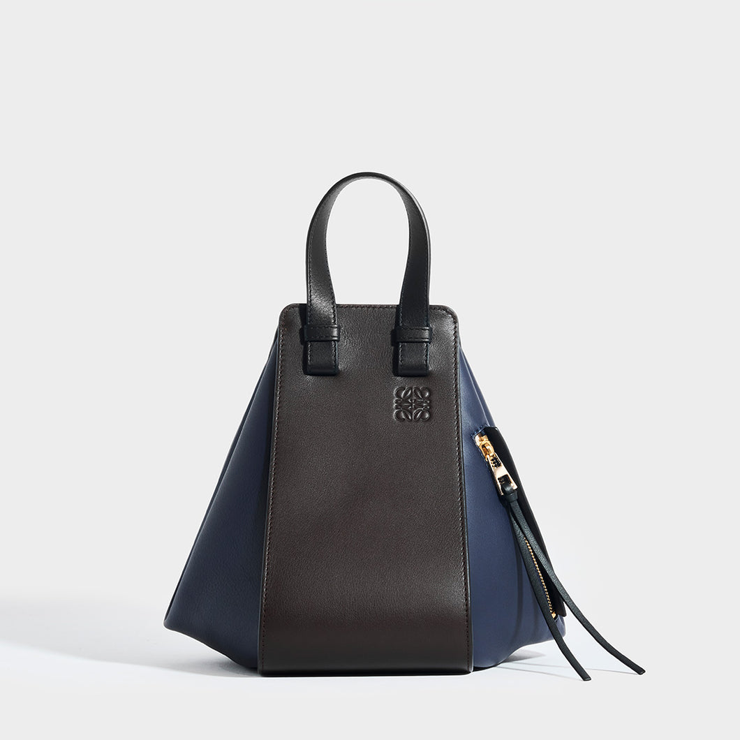 LOEWE Hammock Small Tote in Chocolate/Navy