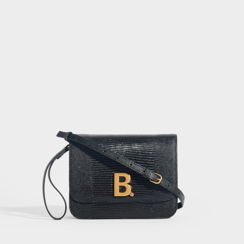 BALENCIAGA B Small Textured Leather Cross-body Bag in Black with Gold B logo