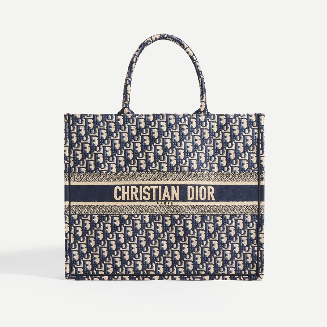 DIOR Book Tote Oblique in Blue - Front View