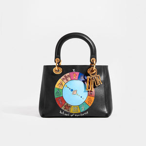 DIOR Vintage Lady Dior Wheel of Fortune Bag in Black leather with hand-painted detail