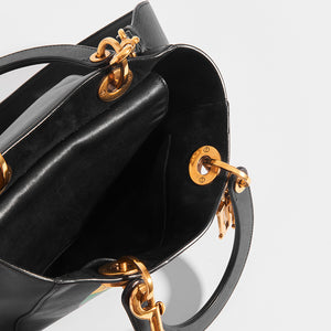 Inside view of DIOR Vintage Lady Dior Wheel of Fortune Bag in Black leather