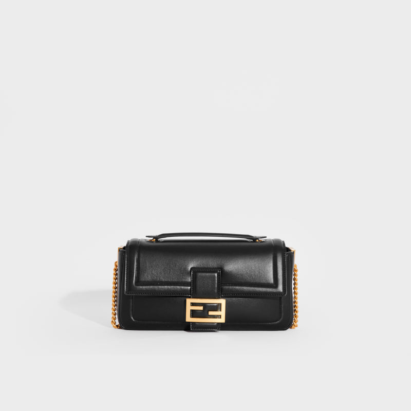 FENDI Baguette Chain Shoulder Bag in Black Nappa Leather