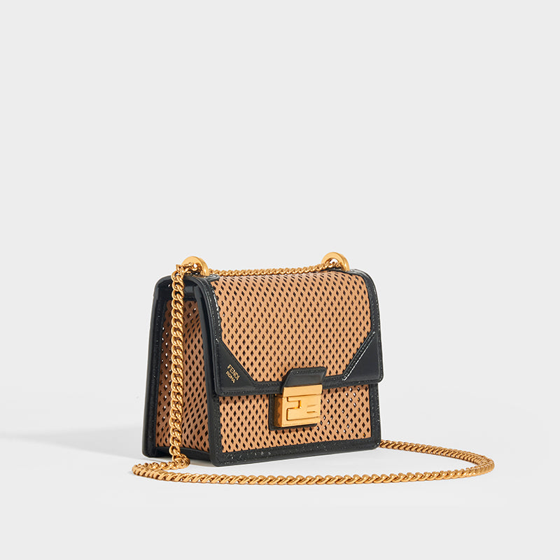 FENDI Kan U Small Shoulder Bag in Brown/Black Leather