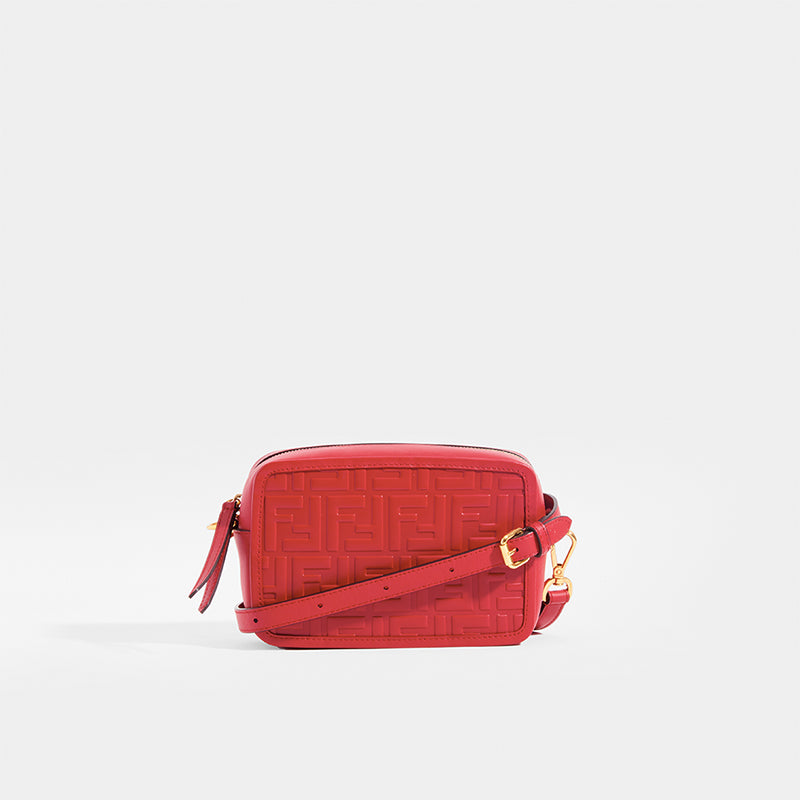 FENDI Mini Camera Case Crossbody Bag with Red Leather and FF Logo Print