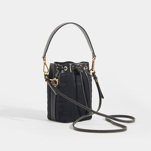 FENDI Mon Tresor Mini FF Logo Bucket Bag with Leather Strap