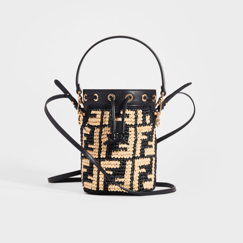 FENDI Mon Tresor Mini FF-Logo Raffia Bucket Bag