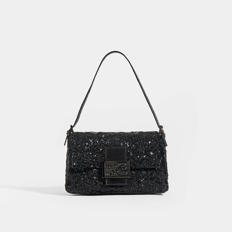FENDI Vintage Beaded Mama Baguette in Black