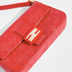 FENDI Vintage Red Leather Baguette Bag - Close Up