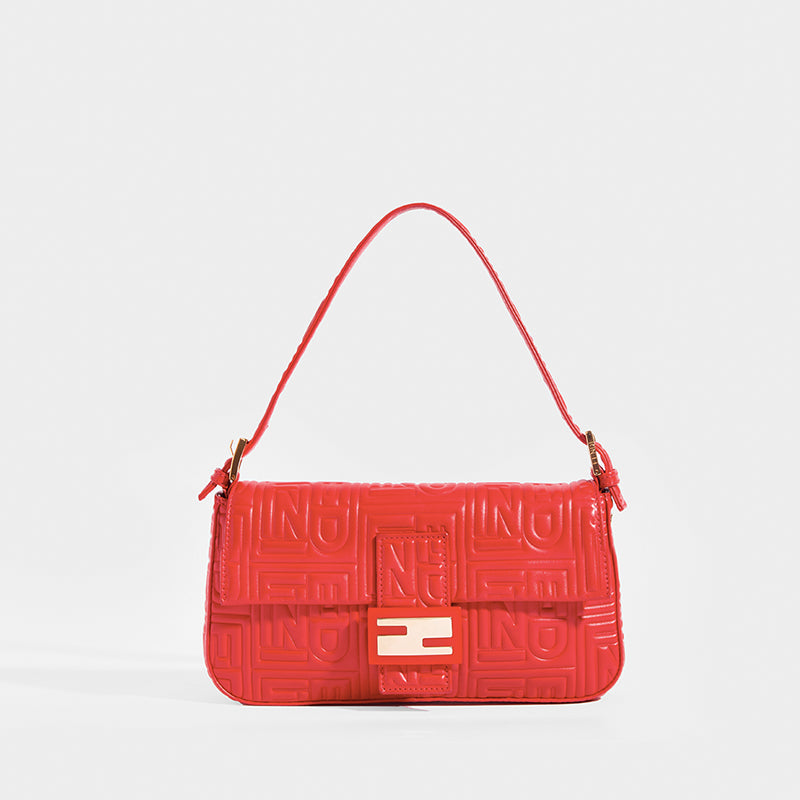 FENDI Vintage Red Leather Baguette Bag with Shoulder Strap and Reverse FF logo