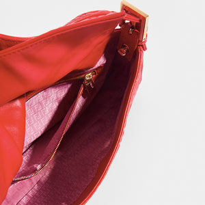 Inside view of the FENDI Vintage Red Leather Baguette Bag with zipped inside pocket