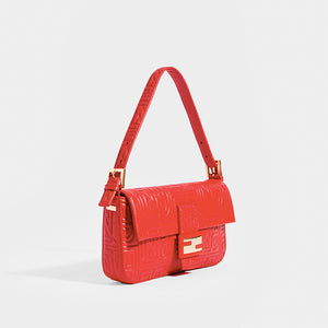 FENDI Vintage Red Leather Baguette Bag - Side View