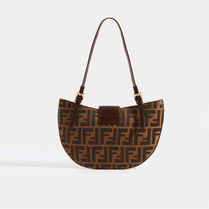 FENDI Vintage Round Zucca Print Shoulder Bag in Brown - Rear View