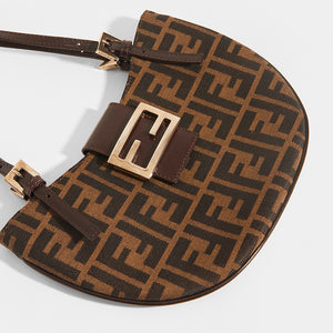 FENDI Vintage Round Zucca Print Shoulder Bag in Brown - Close Up