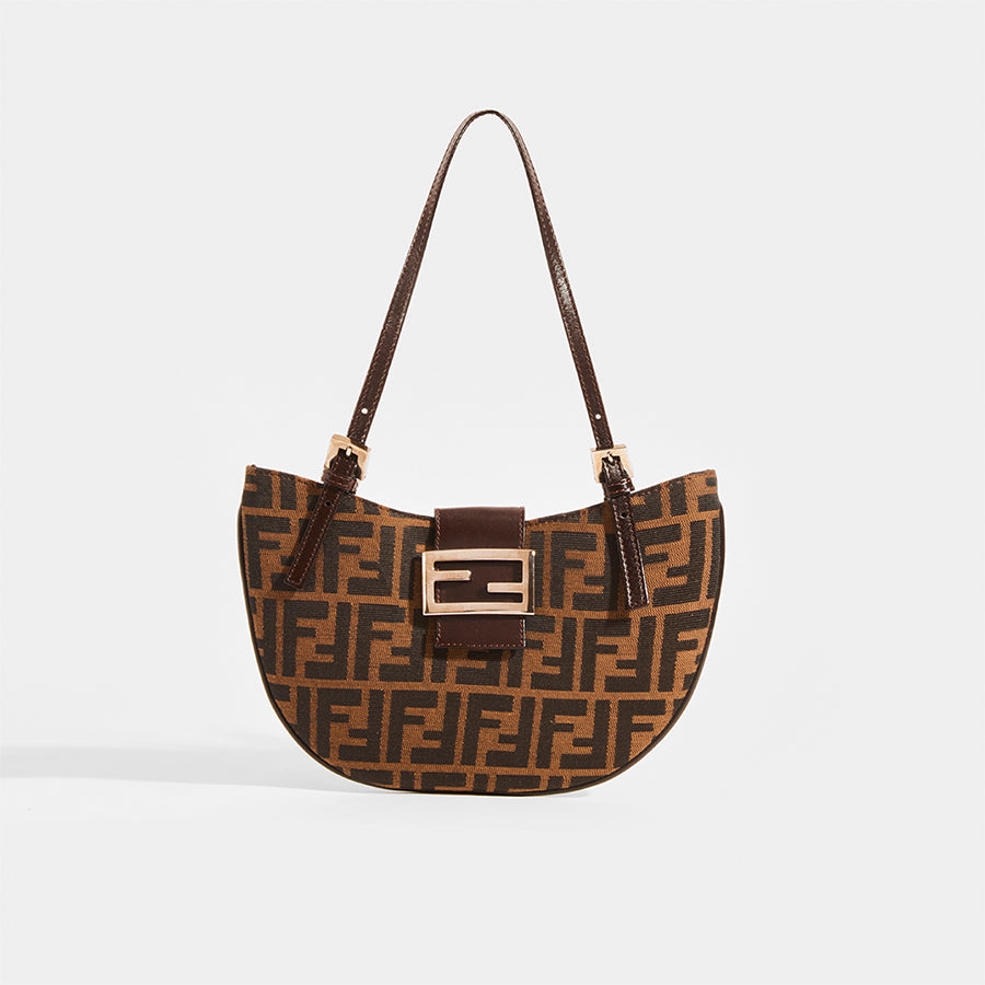 FENDI Vintage Round Zucca Print Shoulder Bag in Brown - Front View