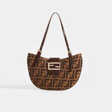 Load image into Gallery viewer, FENDI Vintage Round Zucca Print Shoulder Bag in Brown - Front View
